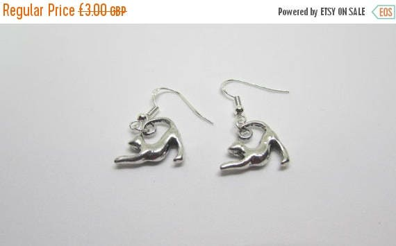 CLEARANCE SALE Cat Earrings Stretching Cat Animal Earrings Sterling Silver Earrings Cute Cats Cat Lovers Gift