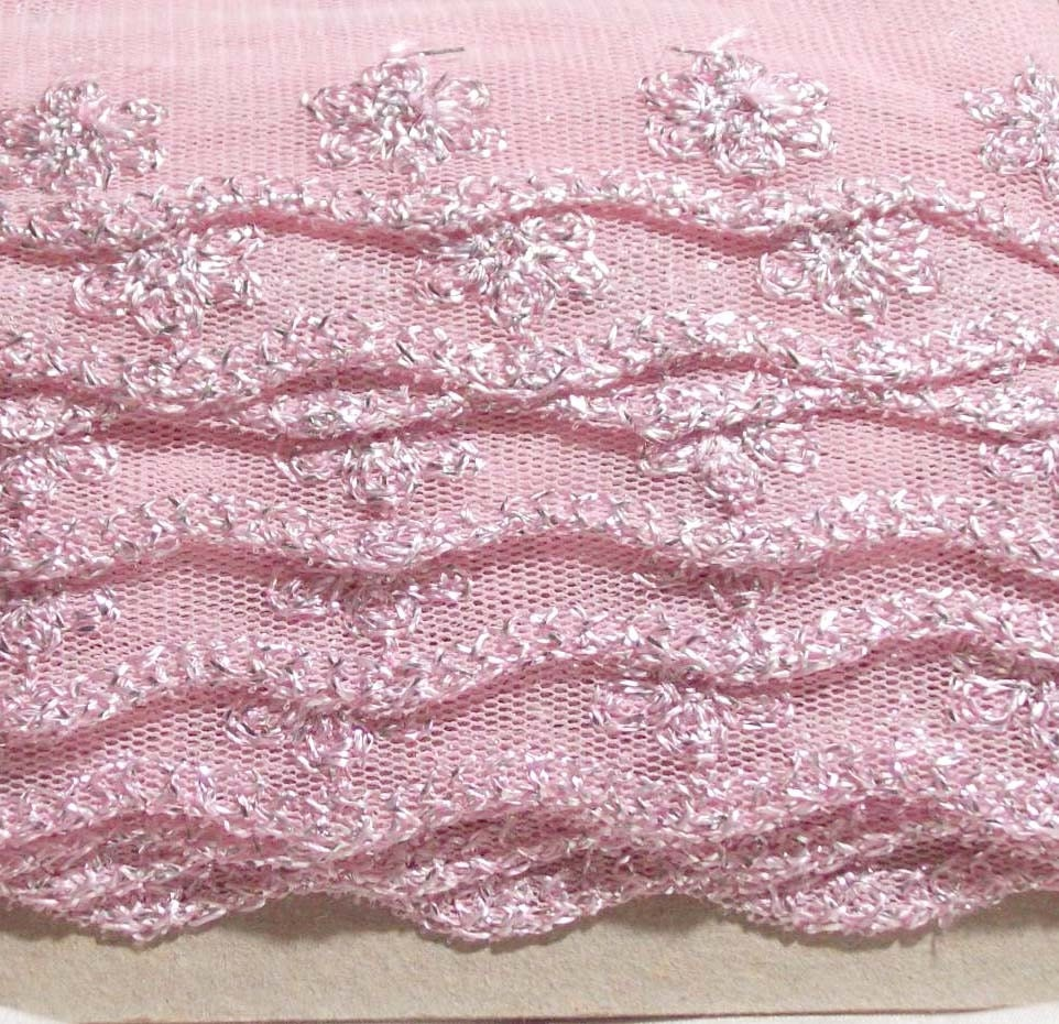 8 yards of unusual pink net lace with metallic threads