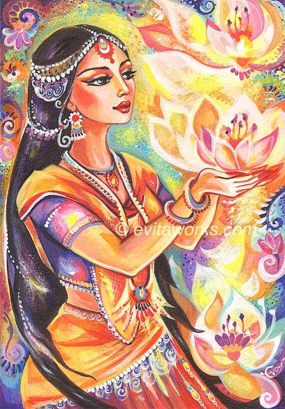 Praying Woman Indian Woman Lotus Spiritual Painting By