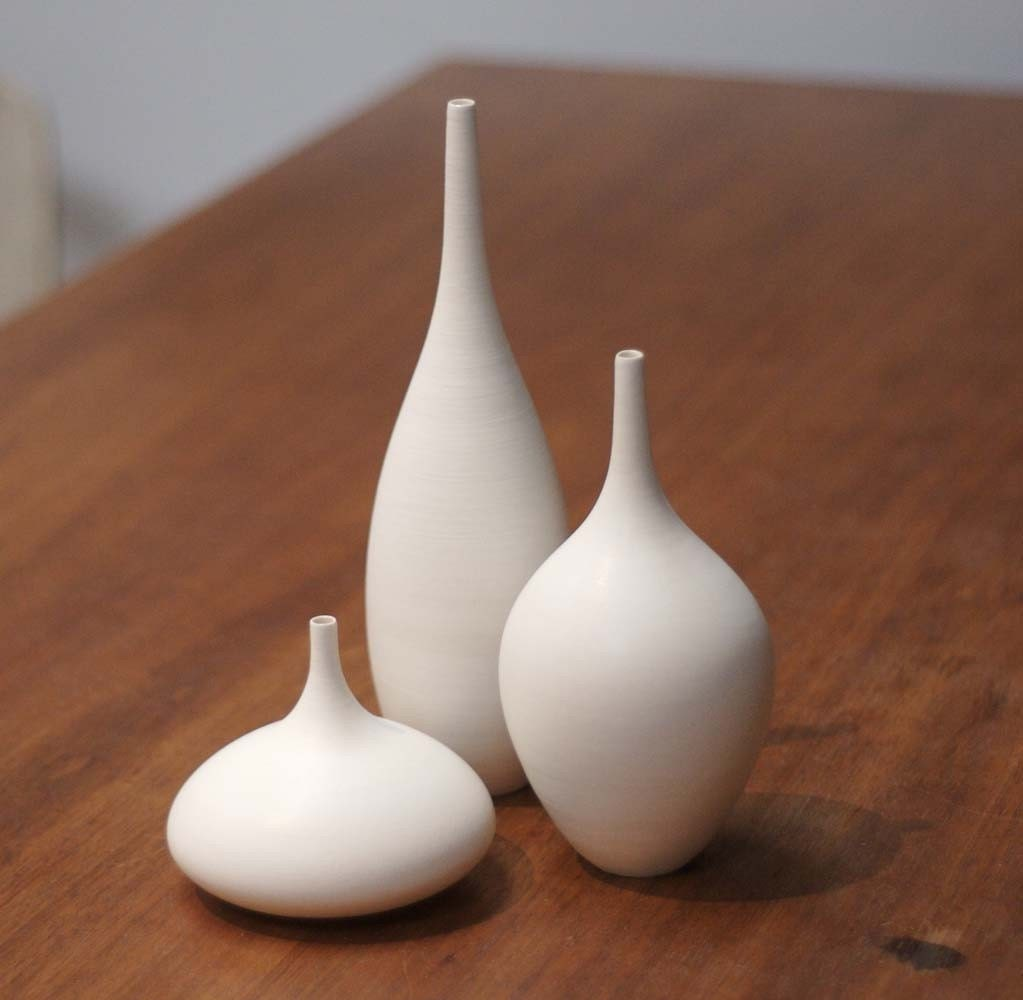 Trio of White Matte Bottles- Small