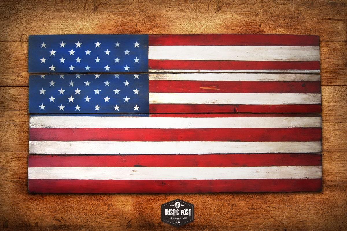 Patriotic rustic planked wood wall art us flag by rusticpost American flag wood wall art