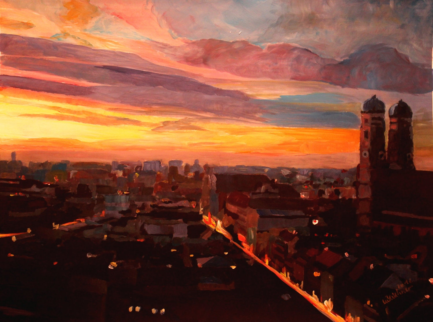 Munich Sunset with Church of Our Lady - artshop77
