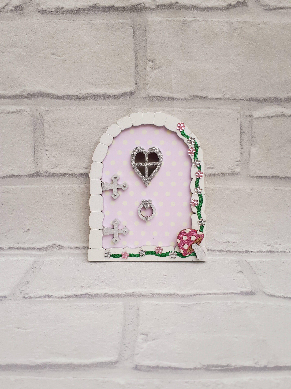 Secret Garden Fairy door. Polka dot fairy door for girls. lilac room decoration for children. Fairytale room decor. Wooden wall decoration