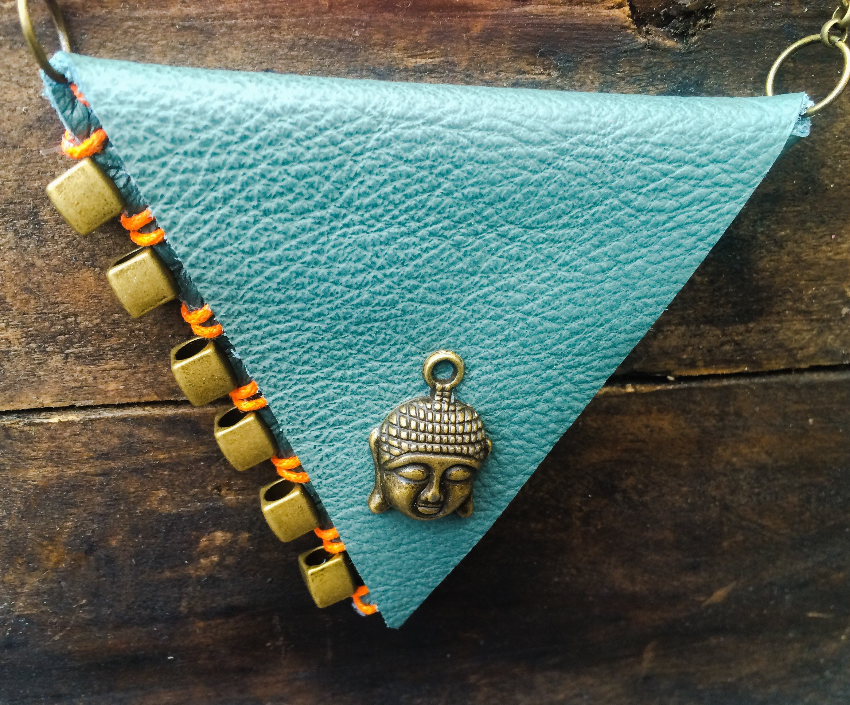 Leather Neck Wallet Buddha Purse Turquoise Purse Leather Neck Pouch Stash Necklace Spiritual Jewellery