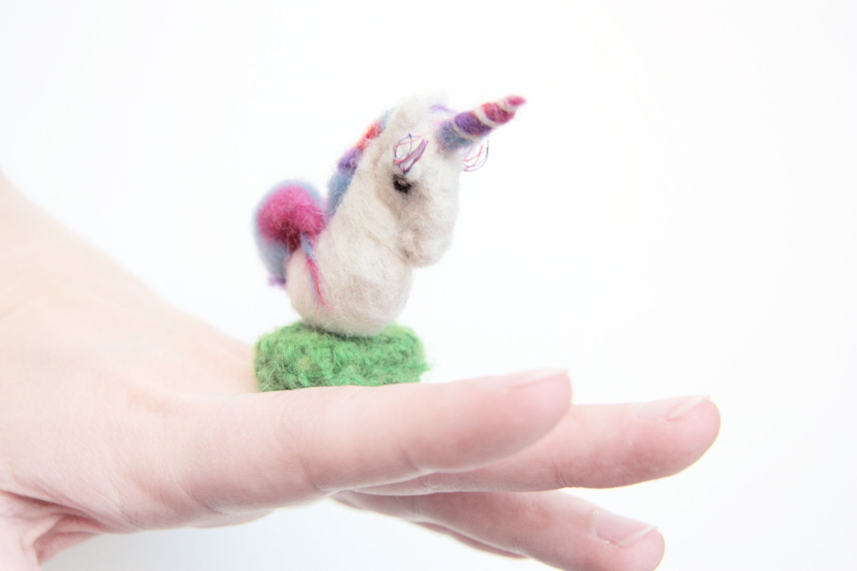 Unicorn Statement Ring. Adjustable, Needle Felted Novelty Ring, Cocktail Ring - ZanyDays