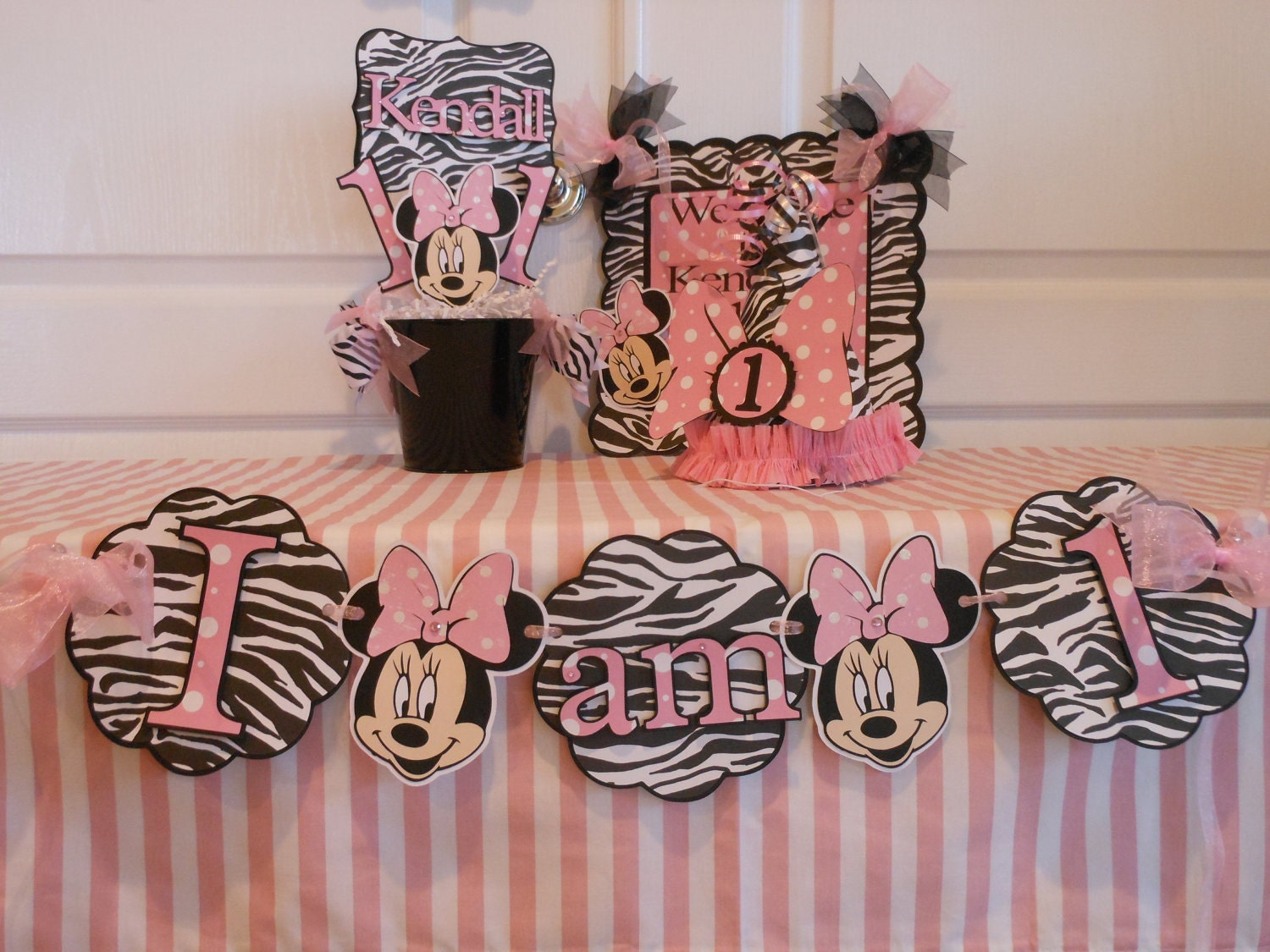 Minnie Mouse zebra -1st Birthday Party Package by A Sweet Celebration ...