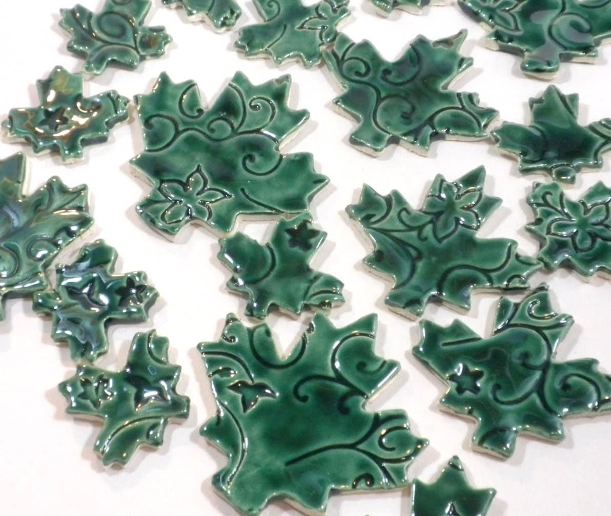 Maple Leaves with Vines and Flowers -  Dark Green - Embossed Handmade Ceramic Mosaic Tiles