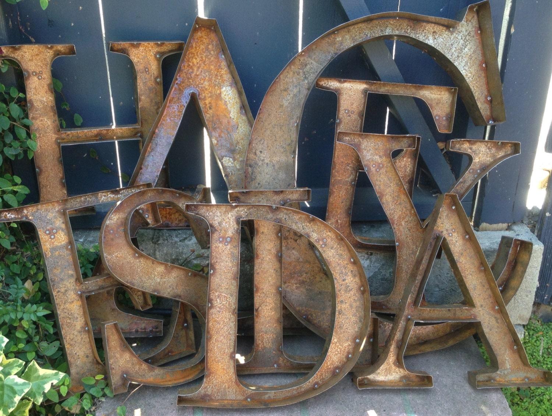 24 rustic metal letters numbers by tulipsntoadstools on etsy With rustic metal letters and numbers