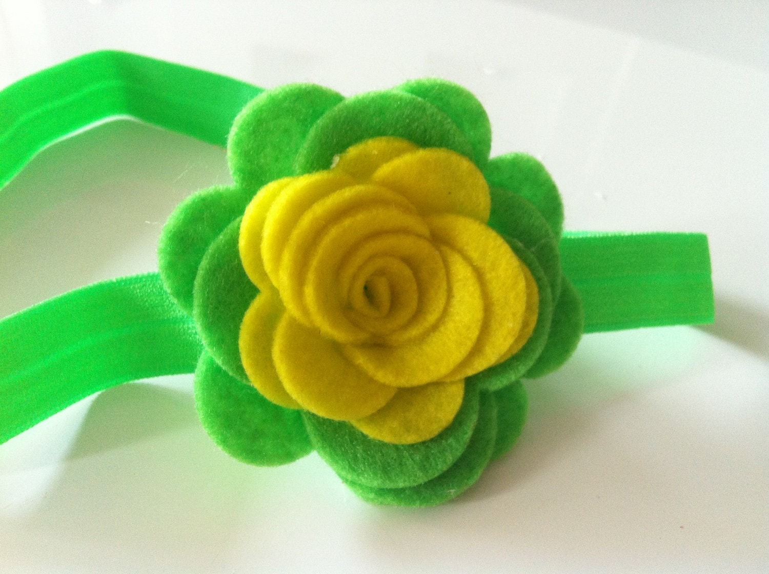 Bright yellow and lime felt flower headband - chicsweetbabytique