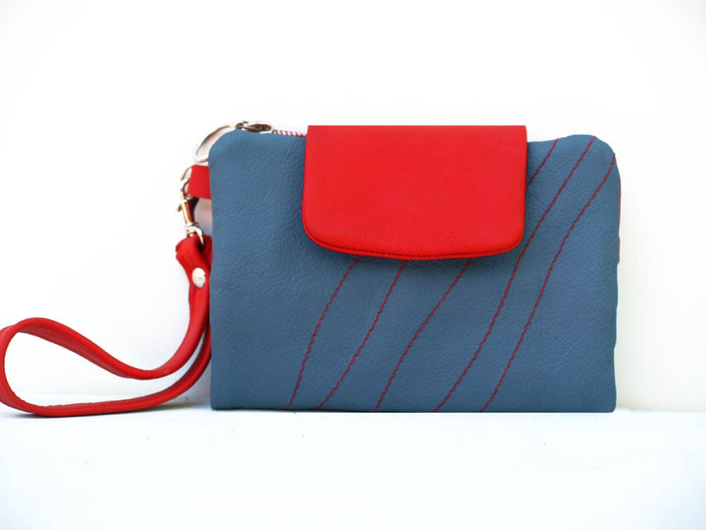 Leather Clutch Wallet Fold Over Wallet Red Blue Modern Wristlet Travel Kit - EightSeasons