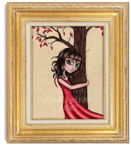 Tree Hugger 8x10 Print mixed media drawing big eyed girl