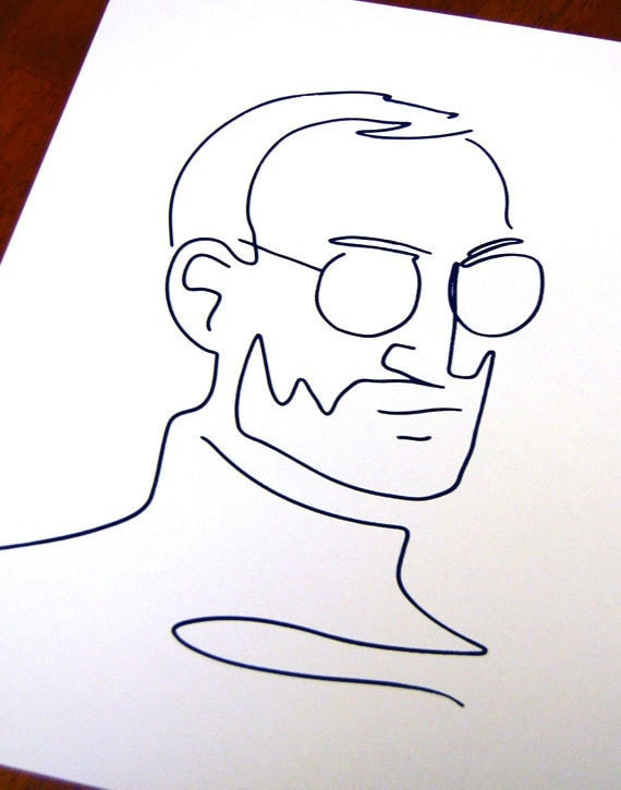 Line Drawing Jobs : Apple founder steve jobs tribute line drawing silk by andyrama