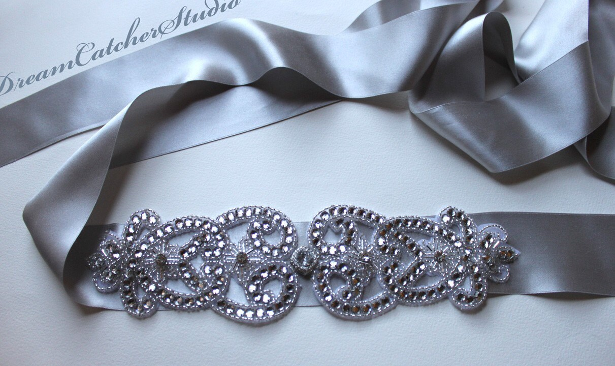 Dazzling Hollywood style Beaded Crystal and Silver Silk Ribbon Wedding Gown Belt, Sash with Swarovski crystal, super Glam