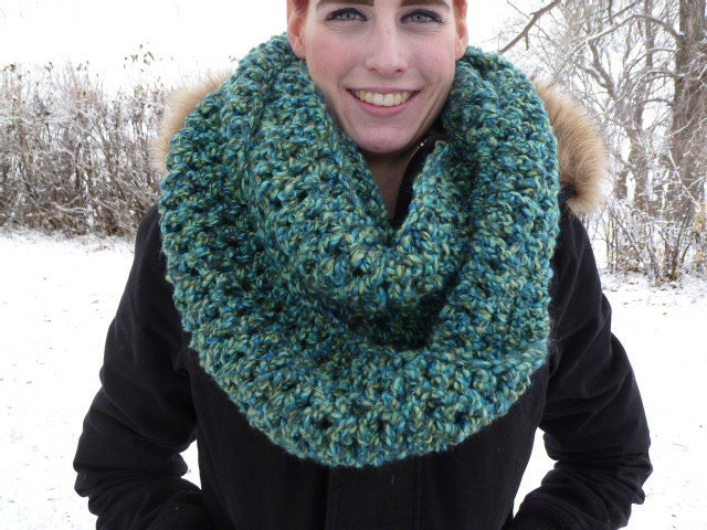 Crocheted infinity scarf in Greens - ACCrochet