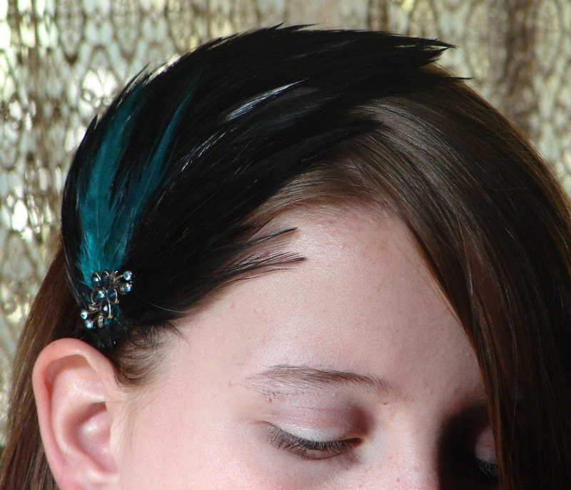 Eve - Black and Teal Feather Hair Clip