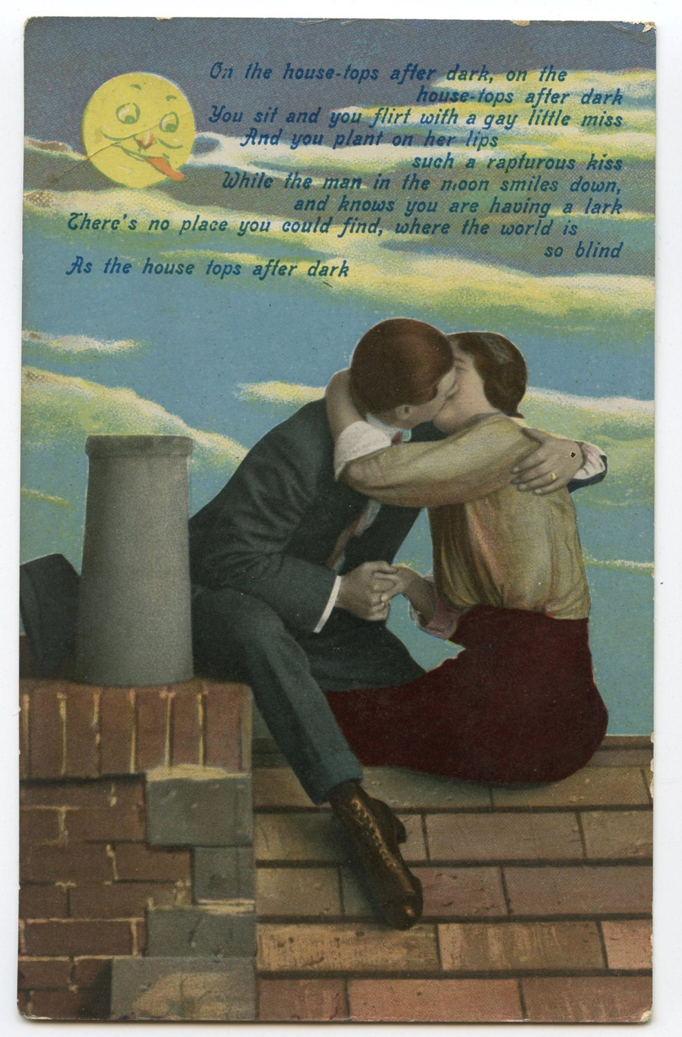 Image of 1900s Risque Poem Romantic Postcard Antique Vintage Victorian Edwardian Glamour Kissing Lovers Romance Erotic Kiss