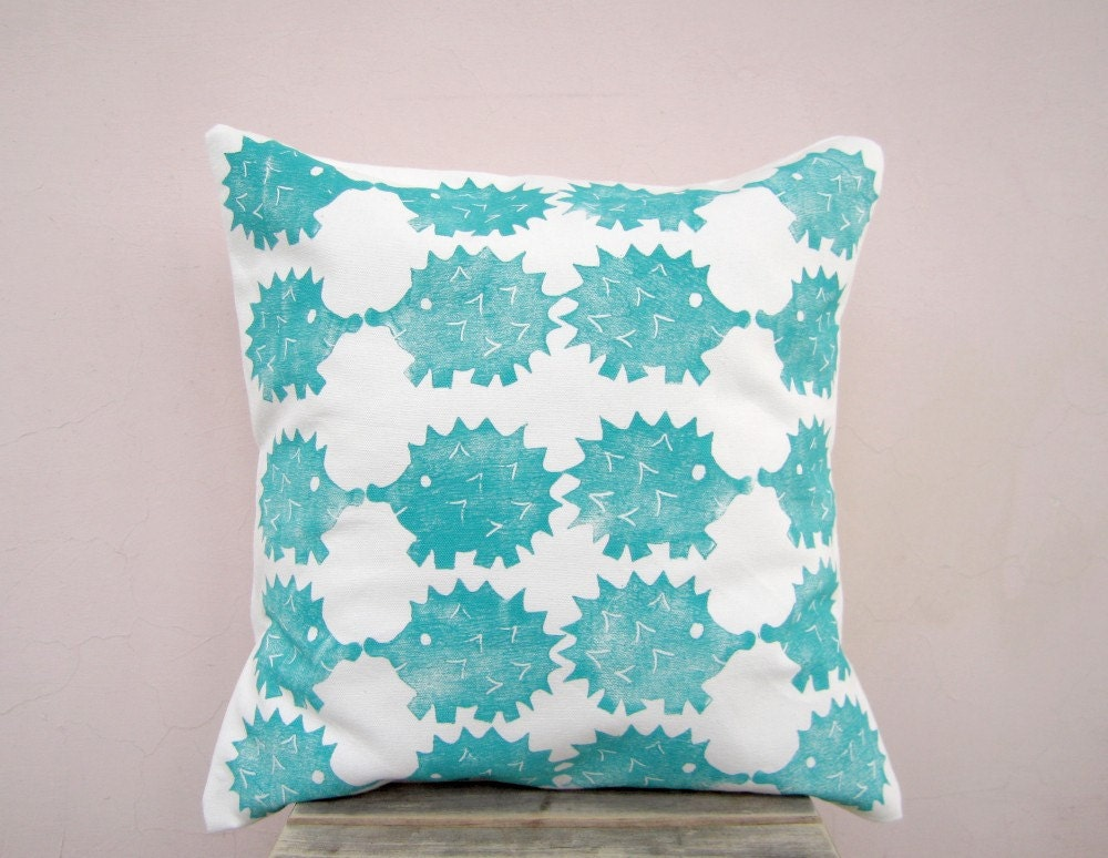 Decorative pillow - hedgehogs print in teal turquoise on white organic cotton pillow cover
