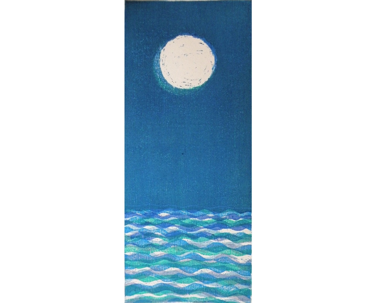 Moon and Sea II (original moku hanga woodcut)