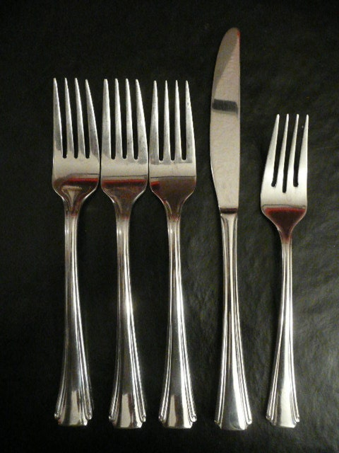 Heavy stainless oneida flatware forks and knife by viviansvintage - Heavy stainless steel flatware ...