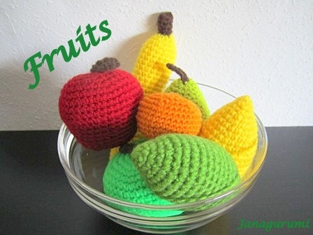 Amigurumi Fruit Crochet Patterns : Amigurumi Fruits Crochet Pattern PDF by Janagurumi on Etsy
