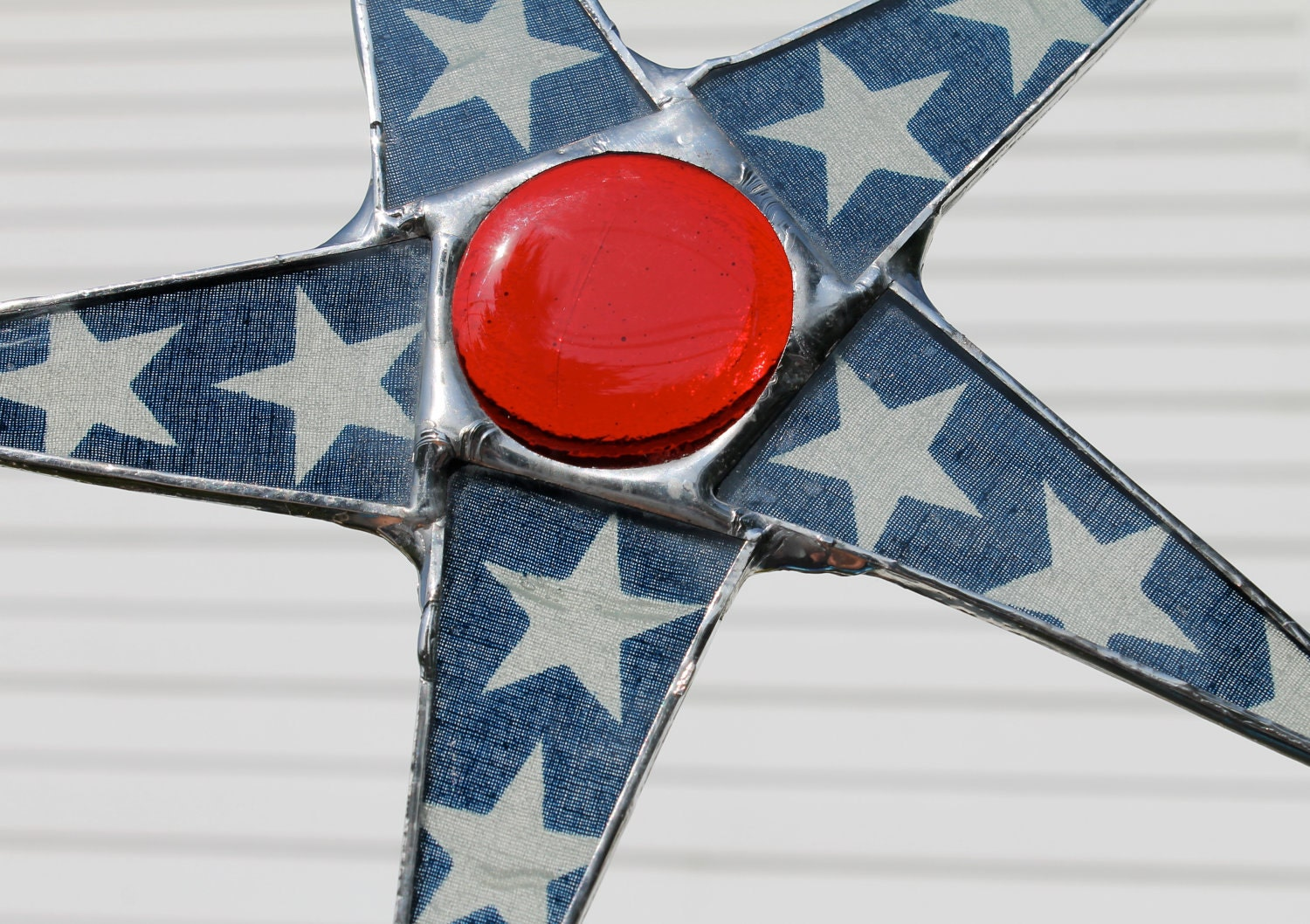 Jefferson- Stained glass star, lacquered star, red white and blue star, 8 inch patriotic star