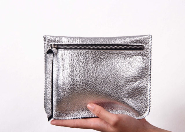 SILVER Leather pouch, leather wallet, small purse - LeahLerner