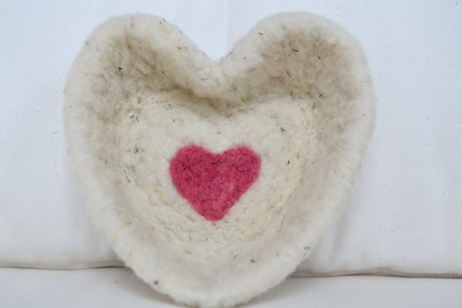 Needle Felted Ivory Wool Heart in Heart Keepsake Bowl, Candy Dish, Valentine Gift