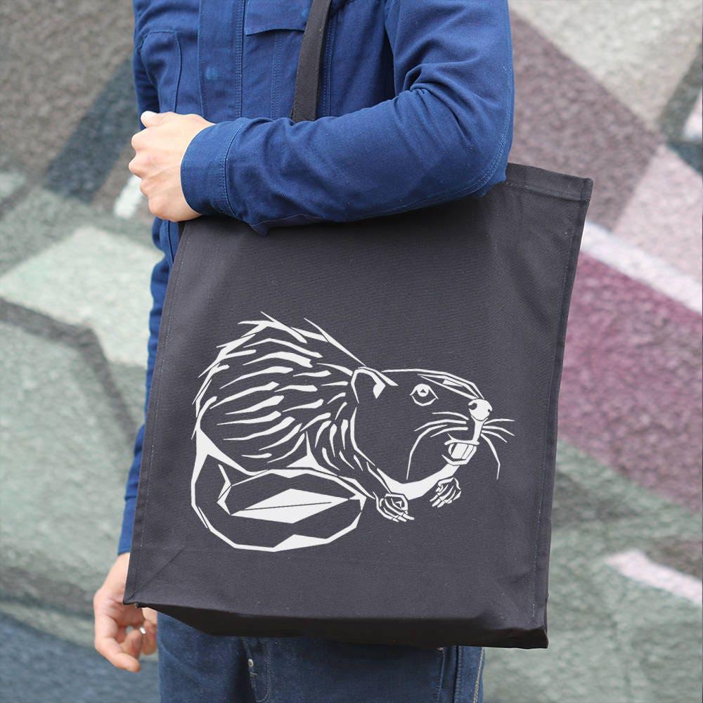 Cool Gift Gift For Her Beaver Print Canvas Tote Bag Hemp Bag Shopping Tote Beach Bag Shoulder Bag Animal Print Tote Reusable TT001