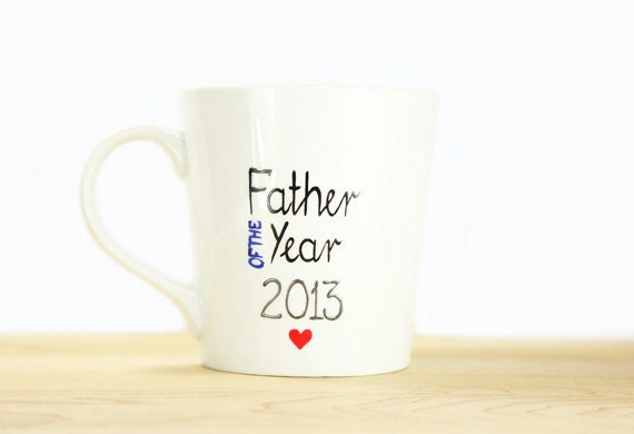 Gift for Dad Personalized Hand Painted Ceramic Mug Father of the Year Kitchen Decor Decorative Art