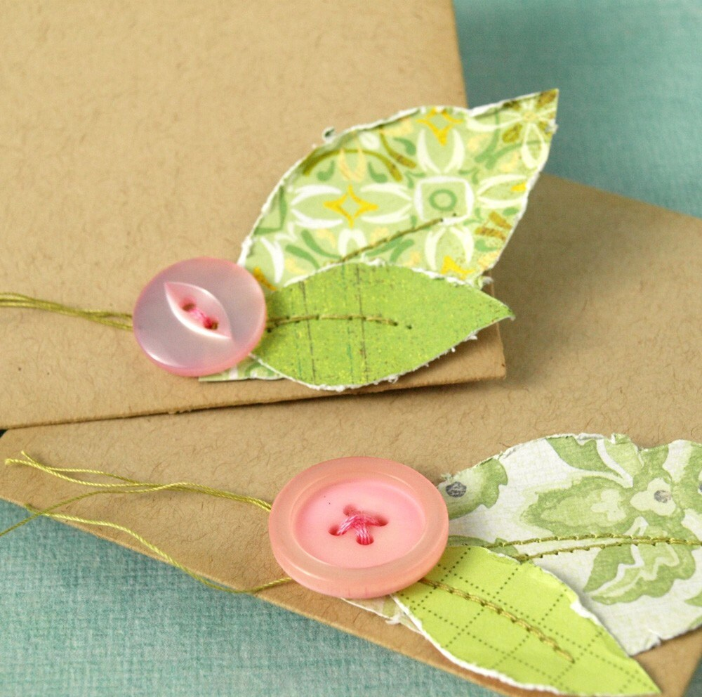 Mini Note Sets - set of two envelopes and cards with leaf accents