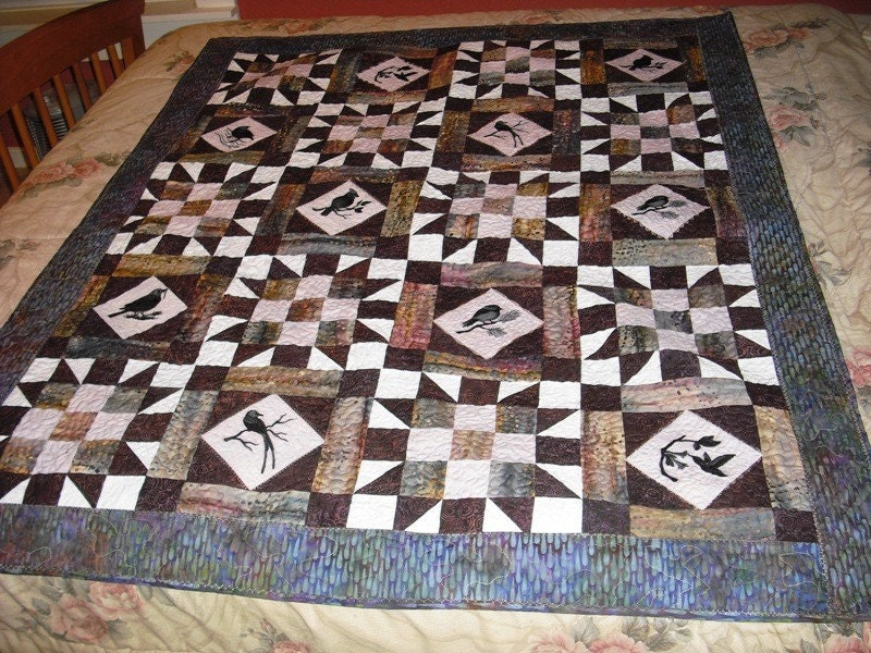 Embroidered Patchwork Quilt with Bird Silhouettes SALE