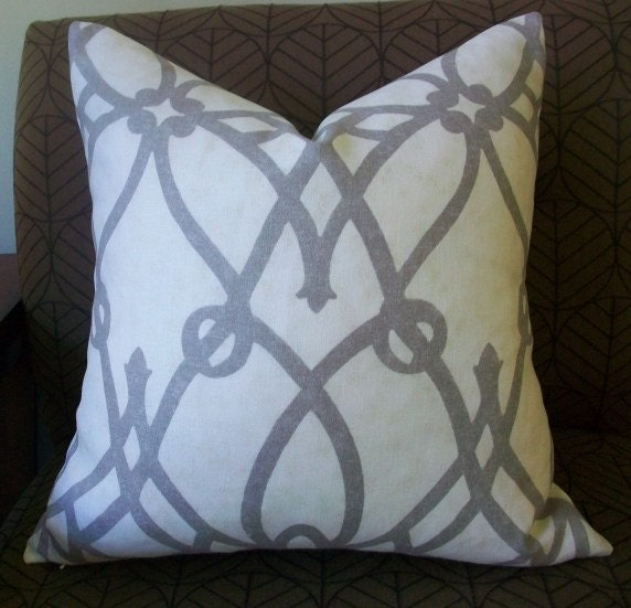Decorative Designer Pillow Cover - 16X16 - BRAEMORE Fioretto in graphite