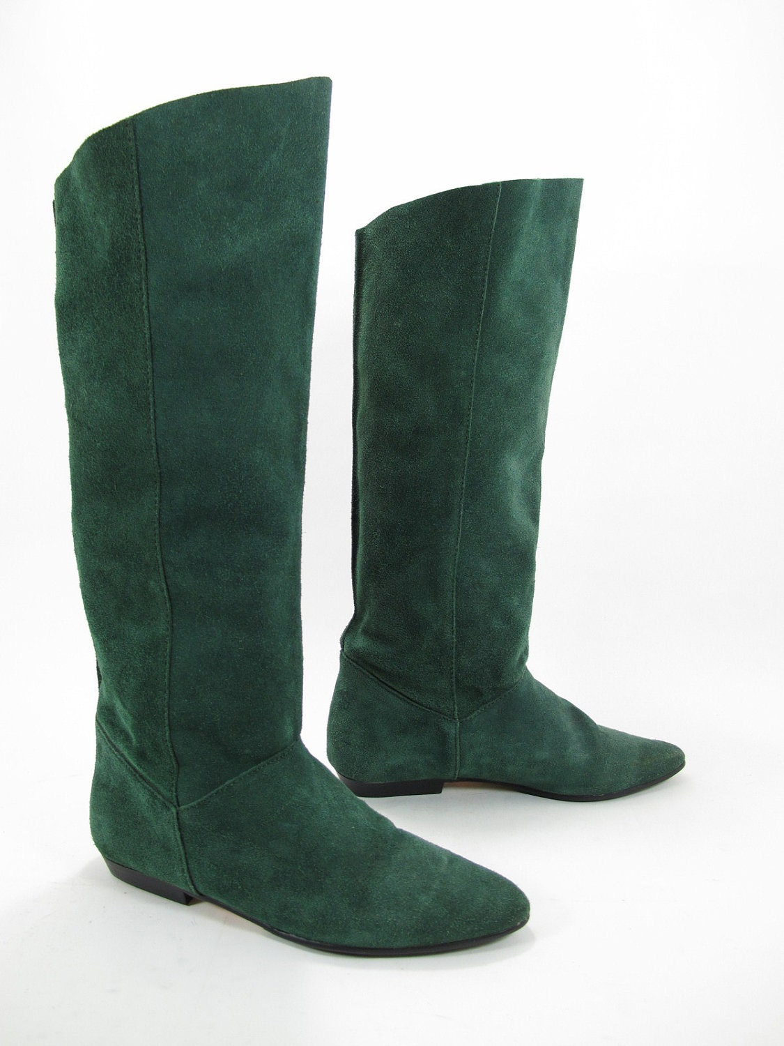 green suede knee high 80s boots by kokorokoko on etsy
