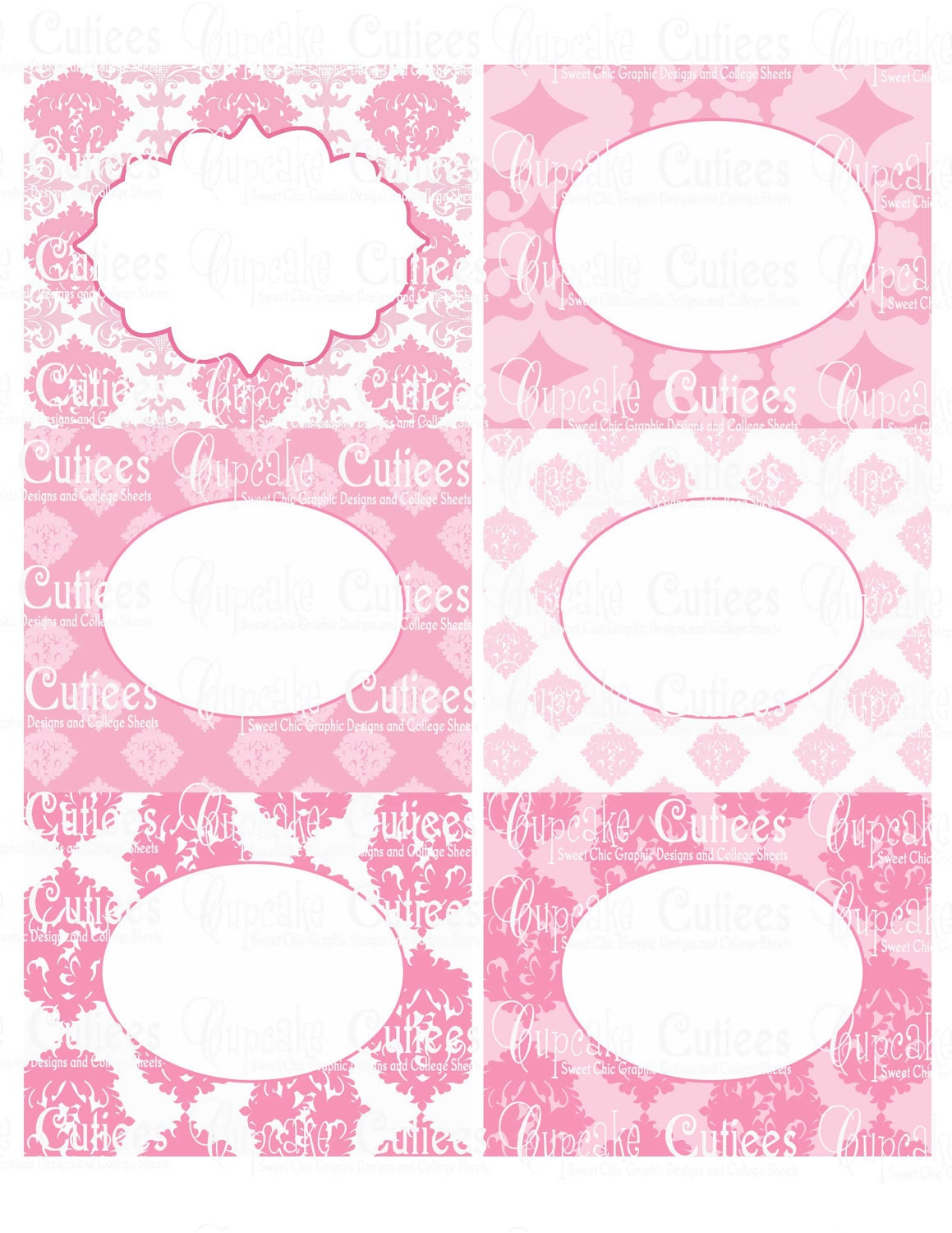 Pretty In Pink Damask Digital Blank By Cupcakecutieesparty