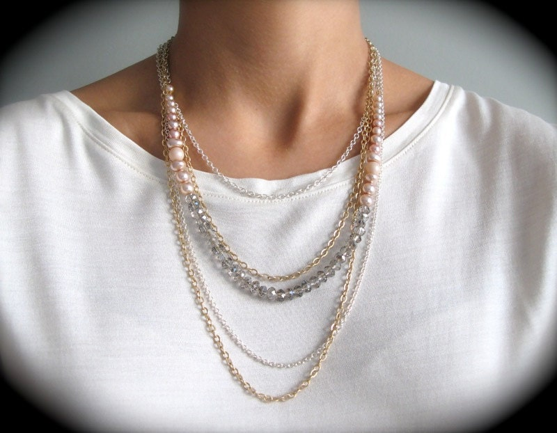 Matte Gold and Silver Chain Pink Blush Layered Necklace