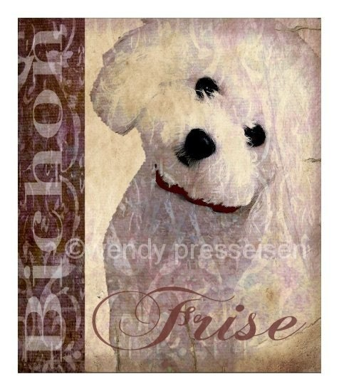 BICHON FRISE DOG ART PRINT Modern Grunge GRAFITTI Vintage Poster CUTE WHITE POODLE French