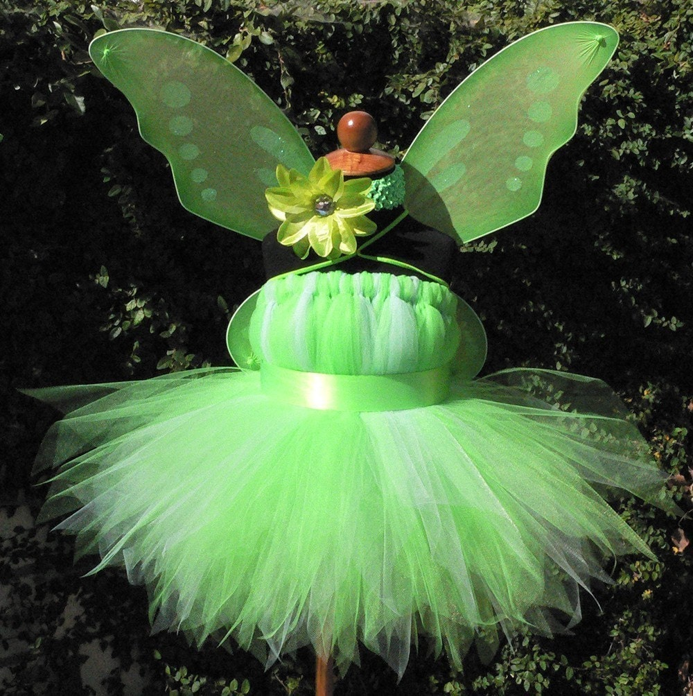 Tinker Fairy Dress - 4 piece set Inspired by Tinkerbell - Includes a Sweet Baby Pixie Dress, Headband, Wand, and Wings - Custom SEWN Tutu Dress - up to 20'' in length - sizes Newborn to 24 months - Perfect for Birthdays and Halloween Costumes