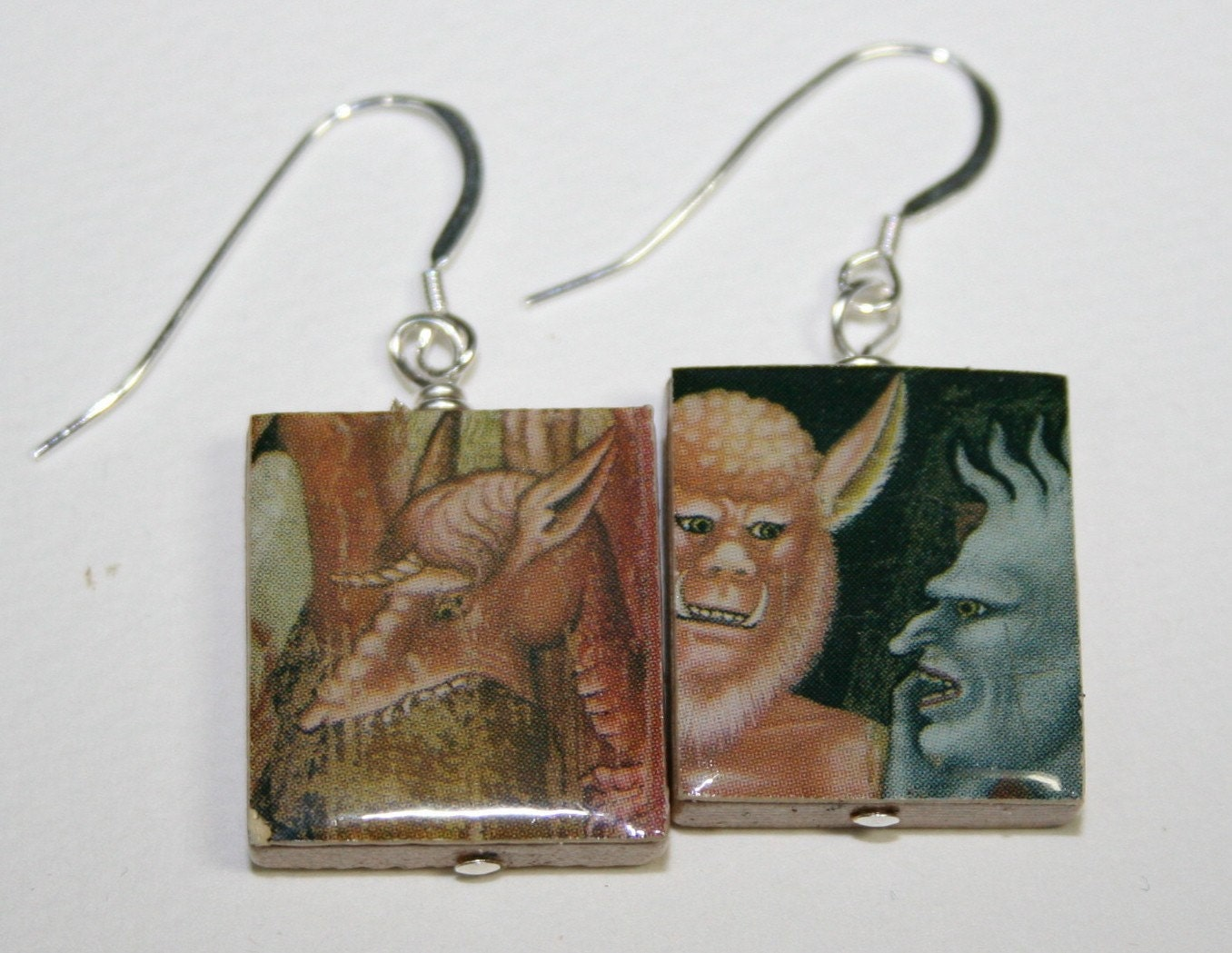 Scrabble Tile Earrings Scary Medieval Monsters