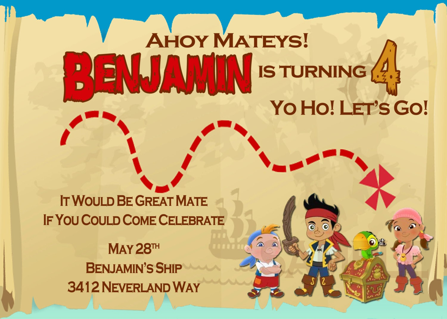 FavorEtsy Jake and the Neverland Pirates Invitation – Jake and the Neverland Pirates Birthday Invitation Template
