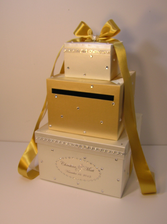 Gold and Ivory Wedding Card Box Gift Card Box Money Box Holder ...