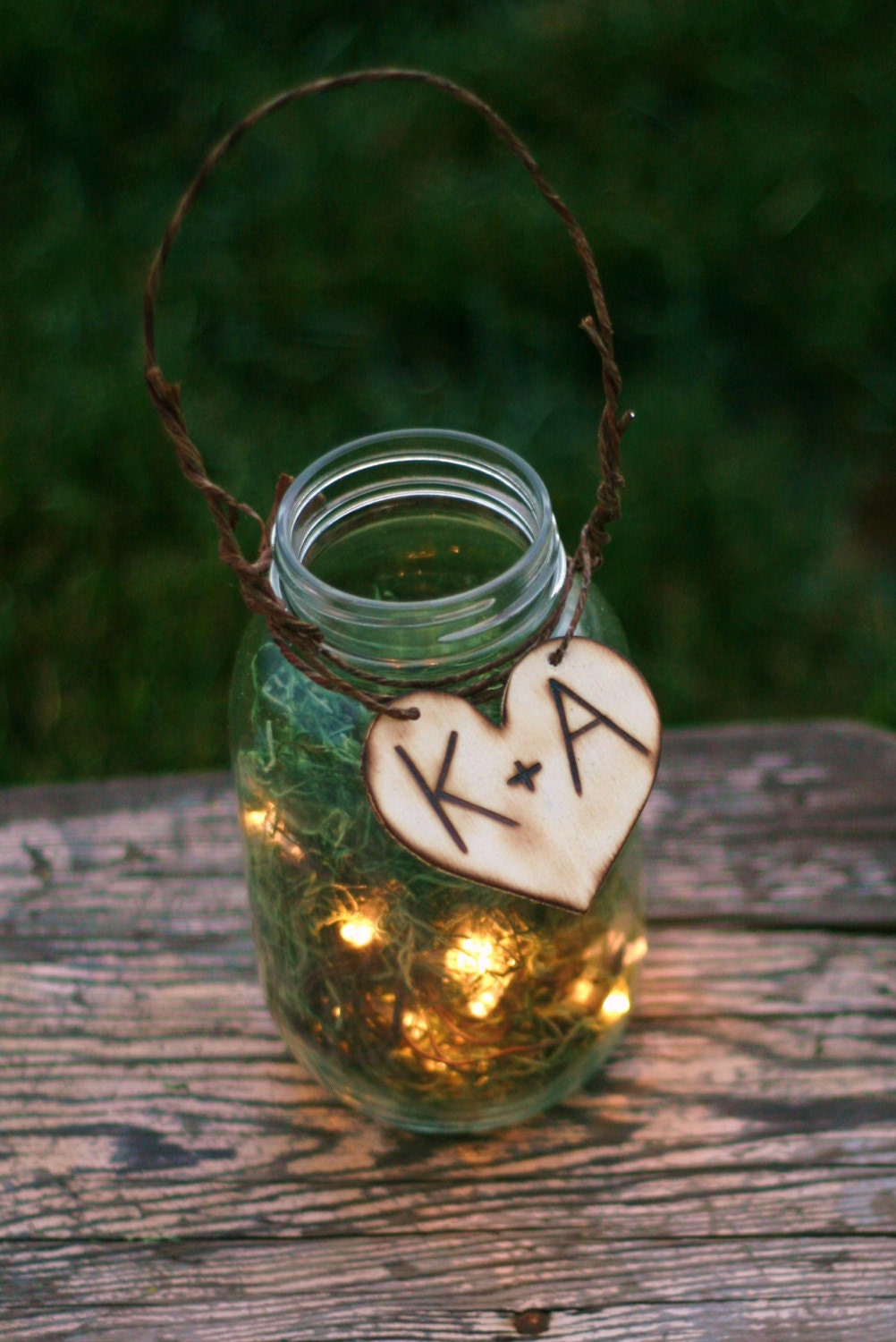 Upcycled Personalized Wood Glass Jar Outdoor Rustic Wedding Decoration Candles Firefly Lightning Bug Lanterns With Moss Woodland Forest Summer Fall CHIC
