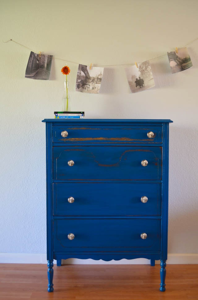 Antique Dresser Chest Of Drawers Hand Painted Blue By Agbstudio