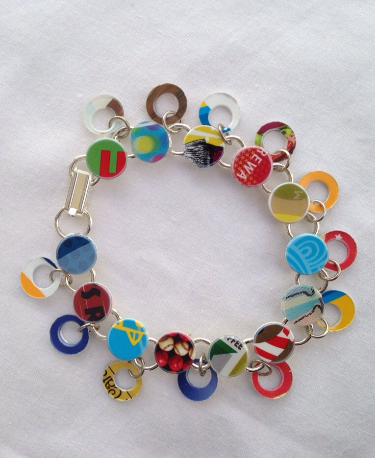 "Crazy Colorful Double Dangle Bangle Bracelet made from Recycled Gift Cards - 8"" bangle bracelet - JustPlainJane"
