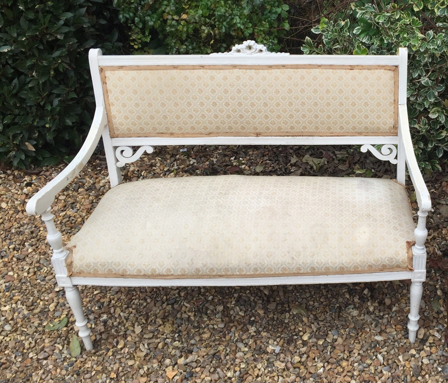 Antique French painted Louis XVI style bench salon sofa for upholstery project