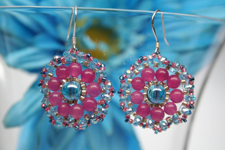 Gum Ball Drops Beaded Pink Blue Flower Earrings