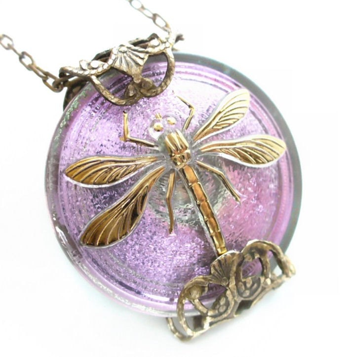Dragonfly Whimsy - Czech Glass Button Necklace By Vintage Filigree Designs