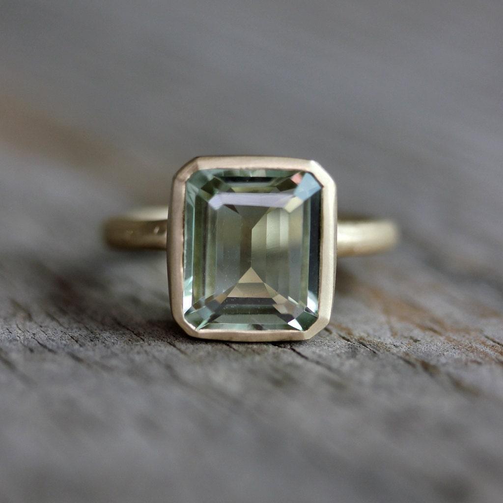 emerald cut green amethyst ring prasiolite ring by