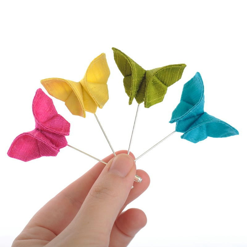 Wedding Boutonniere Silk Origami Butterfly Lapel Pin Neon Colors Stick Pin Buttonhole Bright Wedding 100 Colors GROUP DISCOUNT AVAILABLE - SewSmashing