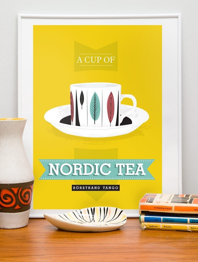 A cup of Nordic Tea -  Retro Scandinavian design  Poster A3 Yellow