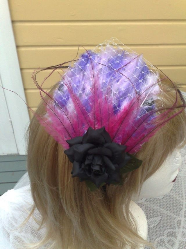 Fascinating Black Rose on Lilac Veiled Feather Pad and Feathers